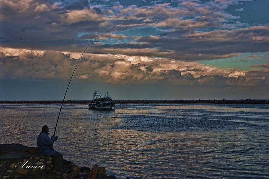"""фото """"Fishing at sunset"""" метки: пейзаж,"""