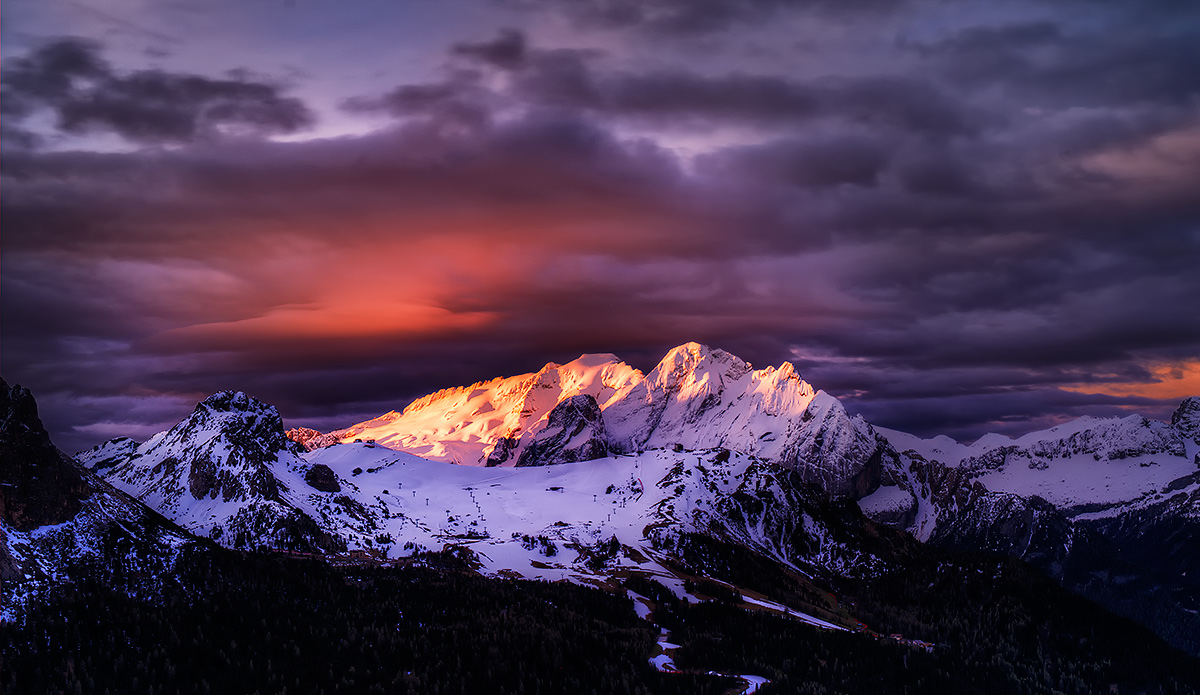 """photo """"***"""" tags: landscape, Europe, Ice, clouds, forest, mountains, night, snow, winter"""