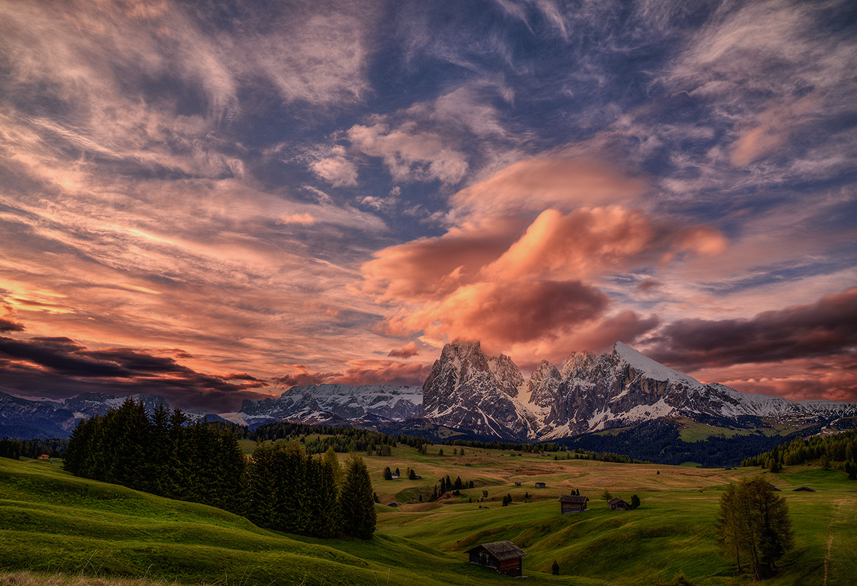 "photo ""***"" tags: landscape, Europe, clouds, mountains, snow, spring, sunset"