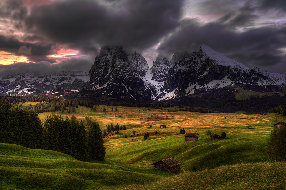 """photo """"Morning"""" tags: landscape, Dolomits, Europe, clouds, forest.sunrise, mountains, summer"""