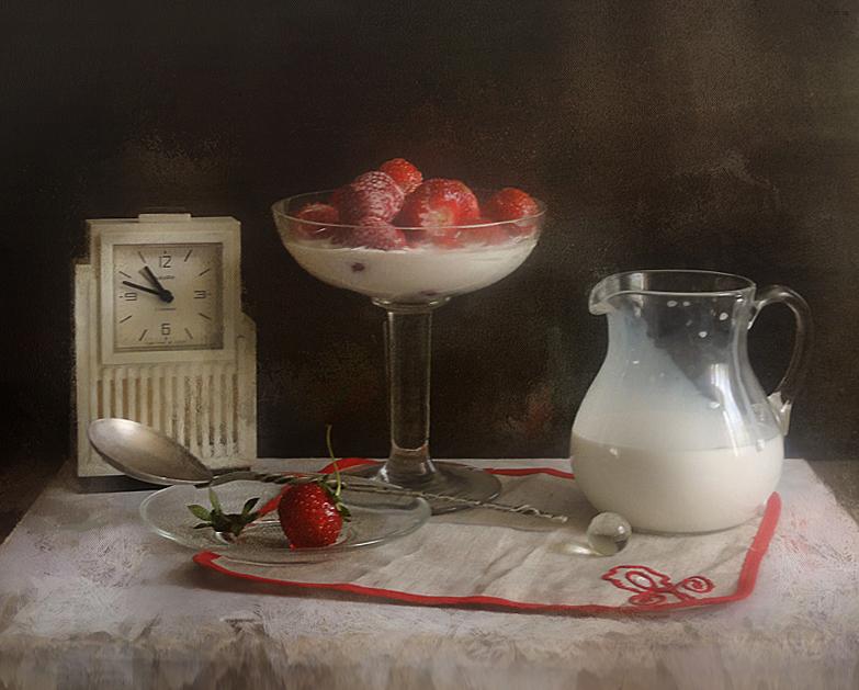 "фото ""Клубника с молоком"" метки: натюрморт,"