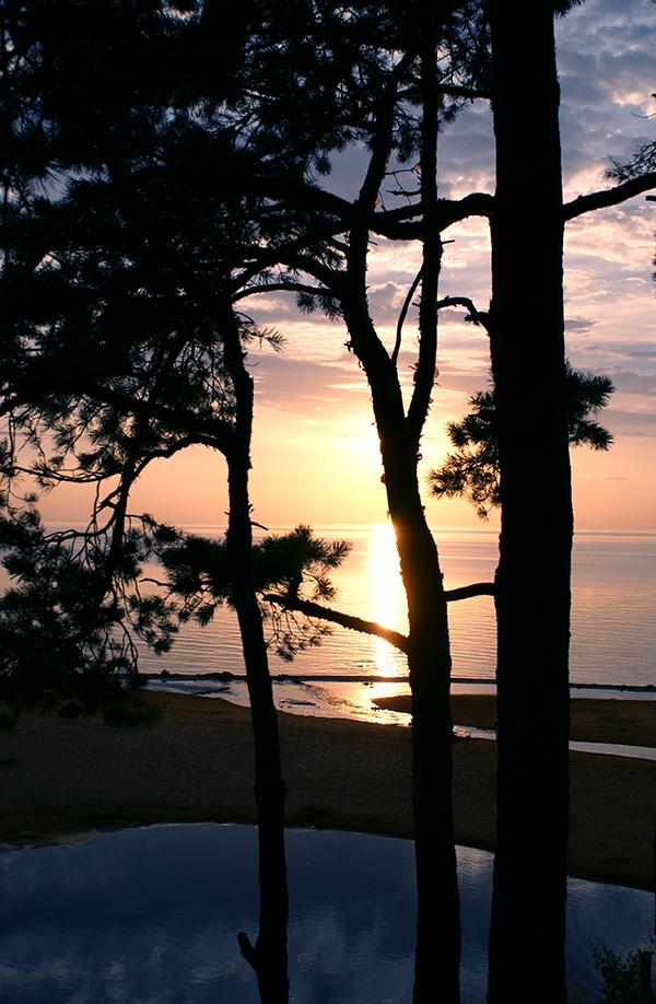 "photo ""***"" tags: landscape, nature, beach, forest, light, sea, sky, summer, sun, sunset, tree, water, луч света, отражение"