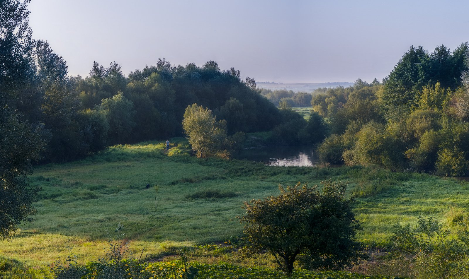 """photo """"Autumn is coming."""" tags: landscape, nature, panoramic, light, meadow, morning, river, sky, роса"""