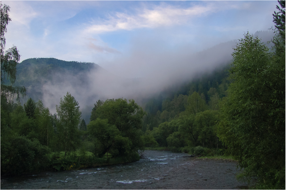 """photo """"***"""" tags: landscape, fog, forest, mountains, river"""