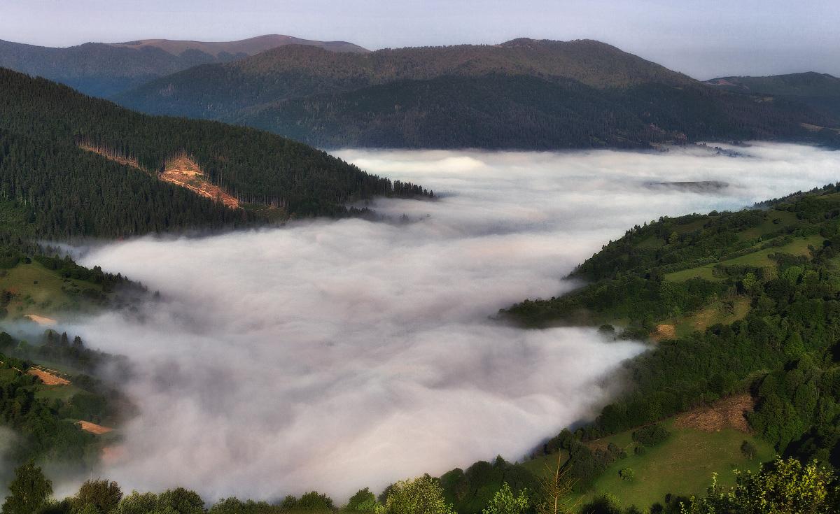 """фото """"Туманные реки"""" метки: пейзаж, путешествия, природа, Карпаты, горы, туман, утро"""