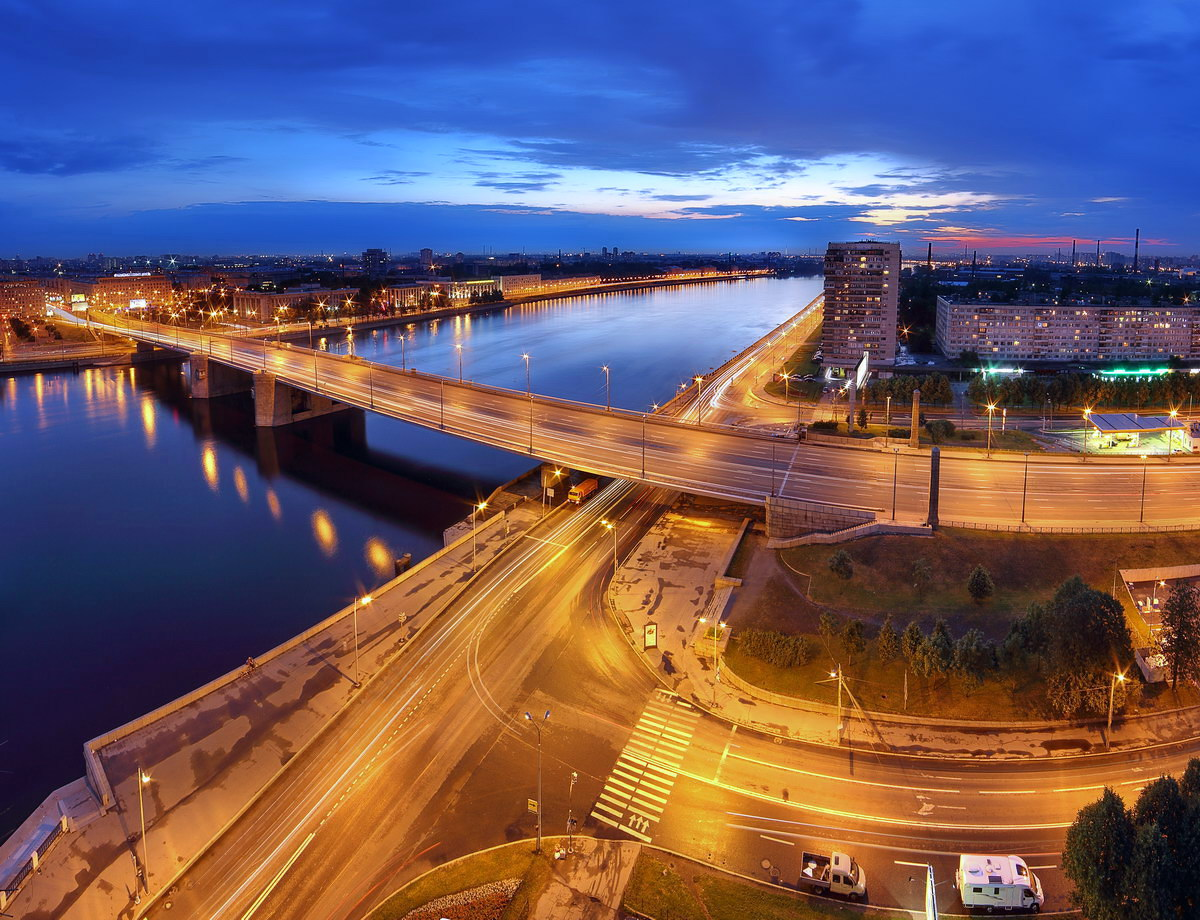 "photo ""***"" tags: city, panoramic, misc., sunset, Володарский мост, Нева, Октябрьская набережная, Петербург, панорама"