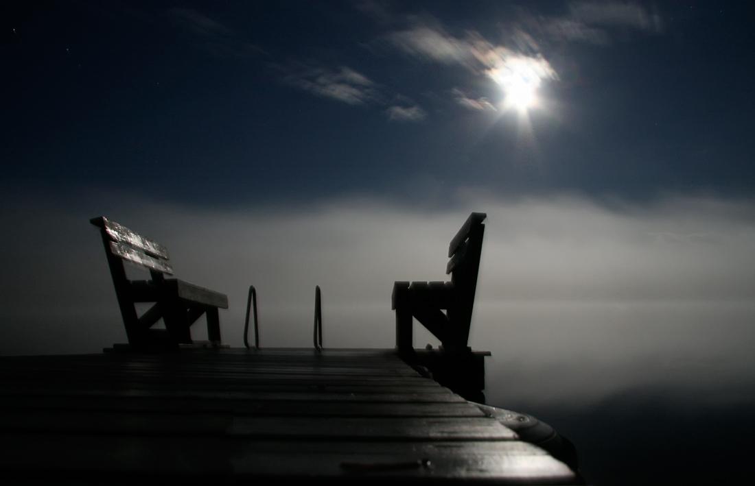 """фото """"Фэнтези. Молчаливый диалог"""" метки: пейзаж, Луна, ночь, туман"""
