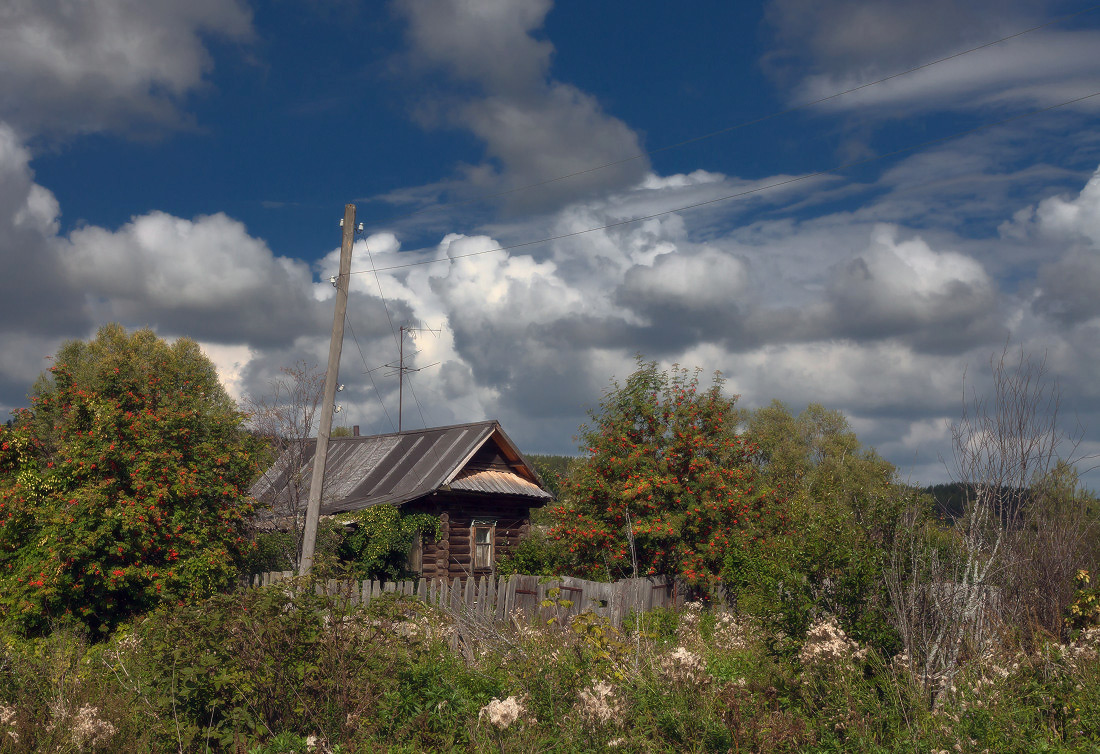 "photo ""***"" tags: landscape, clouds, grass, september, забор, избушка, окошко, рябина"