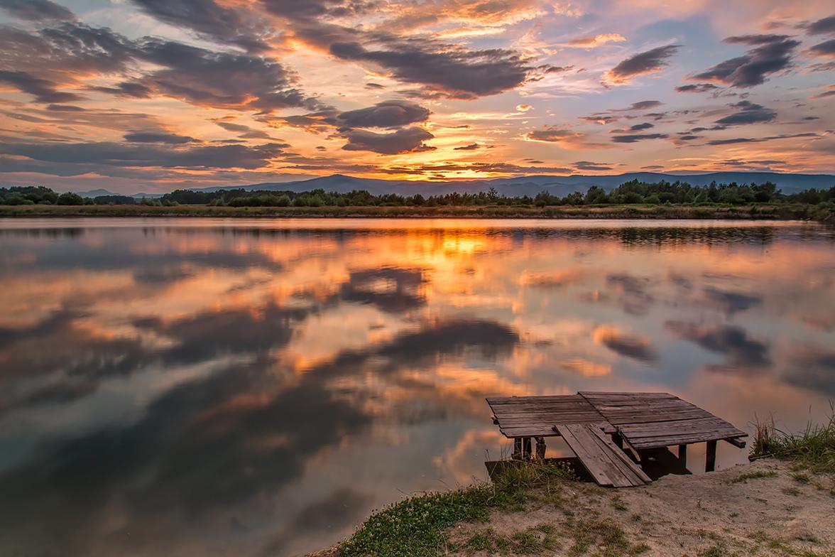 "фото ""Summer reflections"" метки: пейзаж, Pragersko, Slovenia, Slovenija, evening, reflection, небо, облака, озеро"