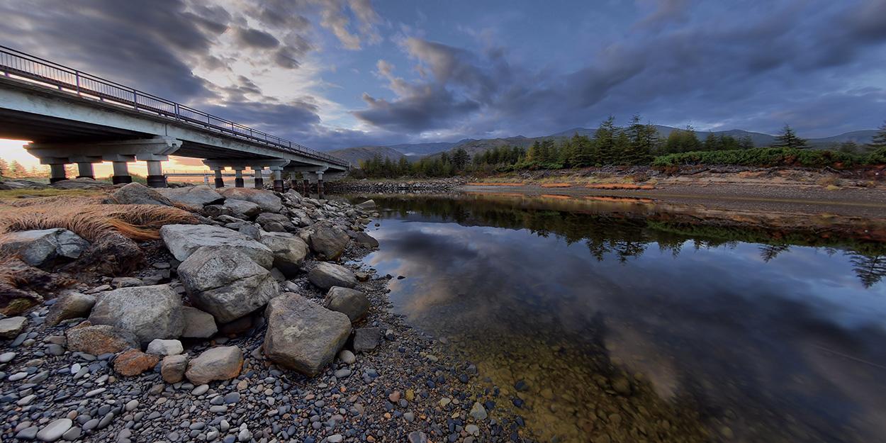"""фото """"речка """"Речка"""""""" метки: пейзаж, мост, небо, река"""