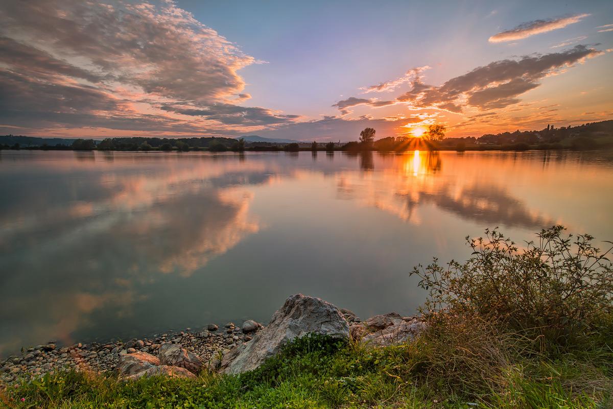 """фото """"Summer's end"""" метки: пейзаж, Slovenia, Slovenija, закат, небо, озеро, отражения"""