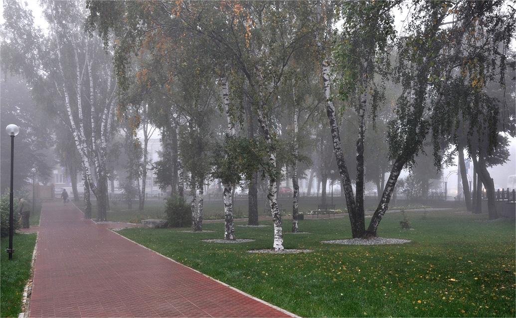 """фото """"Сквозь туман..."""" метки: город, пейзаж, осень, парк, туман, утро"""