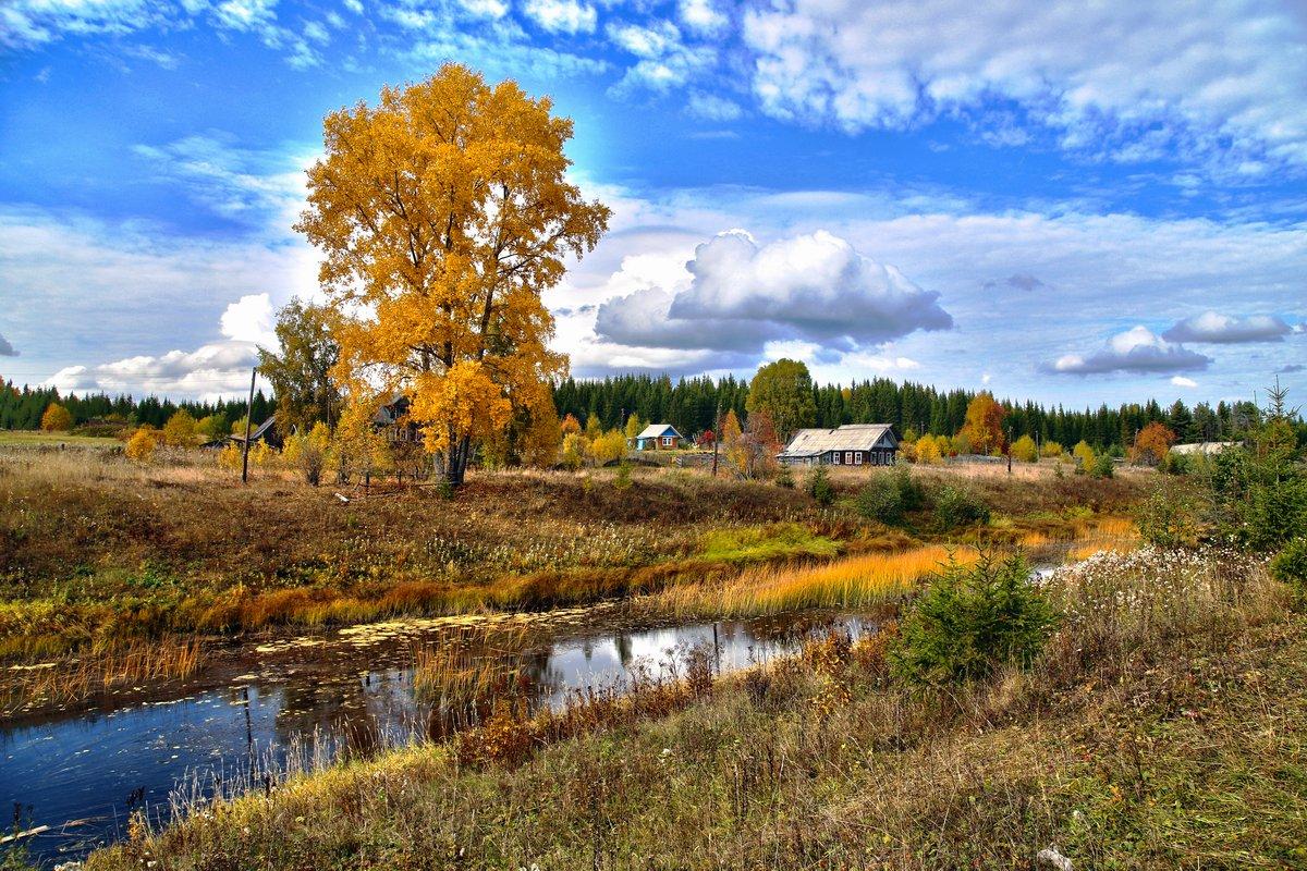 "фото ""деревенька"" метки: пейзаж, природа, город, вода, лес, облака, осень"