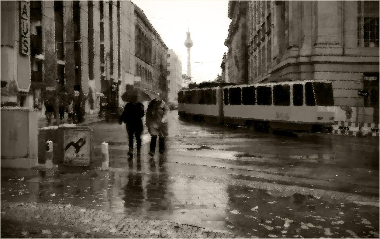 """фото """"Серый день.."""" метки: стрит-фото, digital art, alex, foto liubos, Берлин, Европа, дождь, улица"""