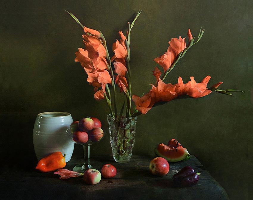 """фото """"Оранжевые гладиолусы"""" метки: натюрморт,"""