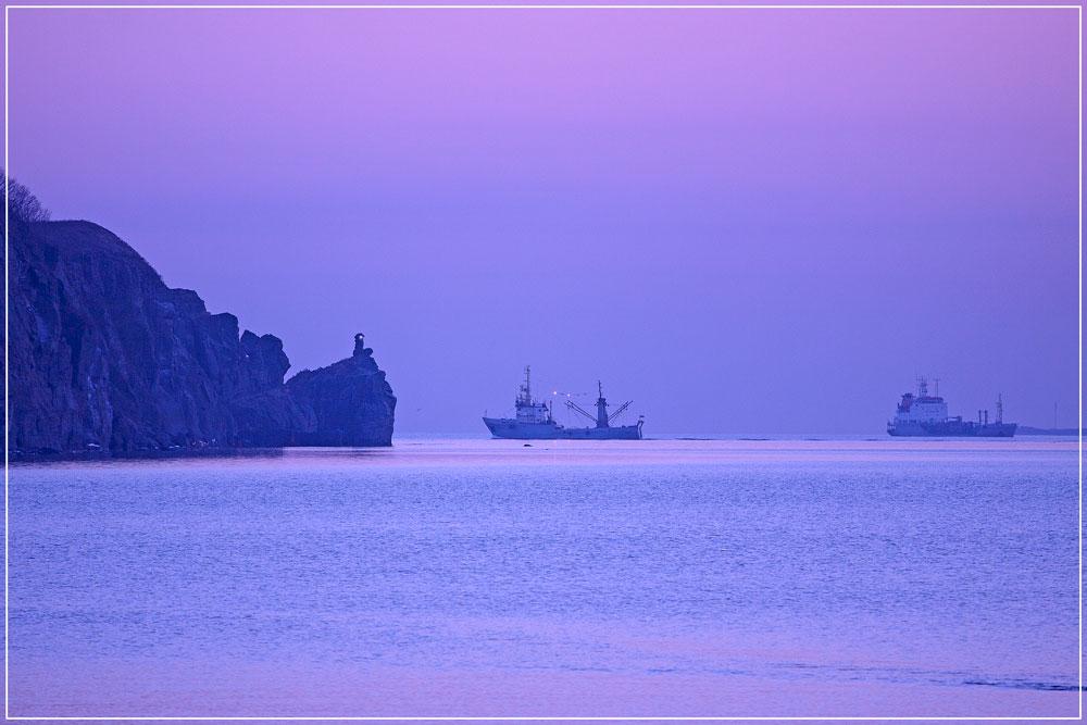 "фото ""На закате"" метки: пейзаж, закат, корабль, море"