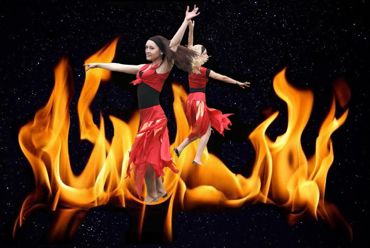 Танец с огнем в картинках