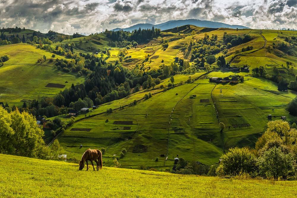 """фото """"Солнце бродит по холмам"""" метки: , Карпаты, горы, облака, осень"""