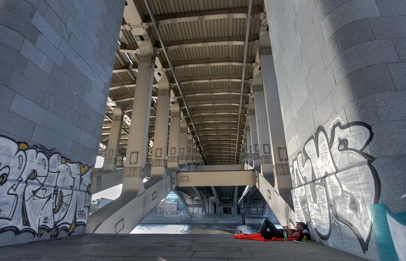 "photo ""***"" tags: street, genre, city, bridge, man"