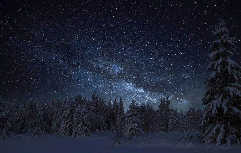 ночь зима обои