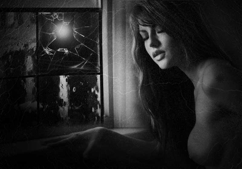 "фото ""Moon bath..."" метки: ню, digital art, черно-белые, Conceptual, woman, Луна"