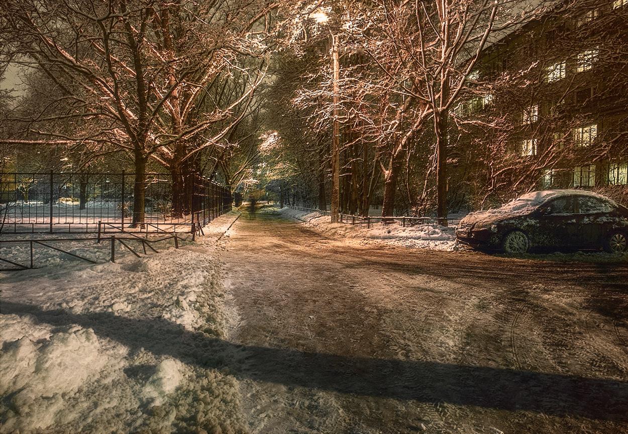 """photo """"***"""" tags: city, night, snow, winter, Петербург"""