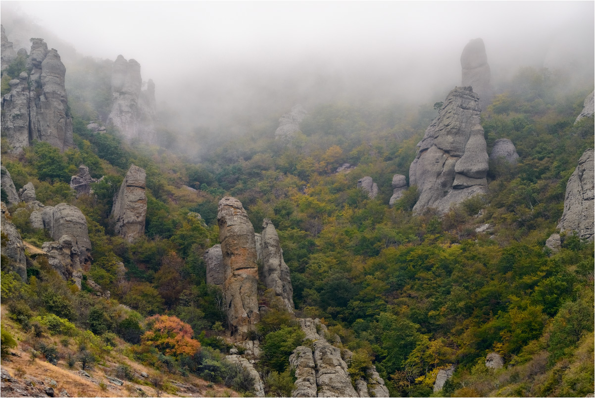 "photo ""***"" tags: landscape, travel, nature, Crimea, Russia, autumn, fog, morning, mountains, демерджи, склоны"