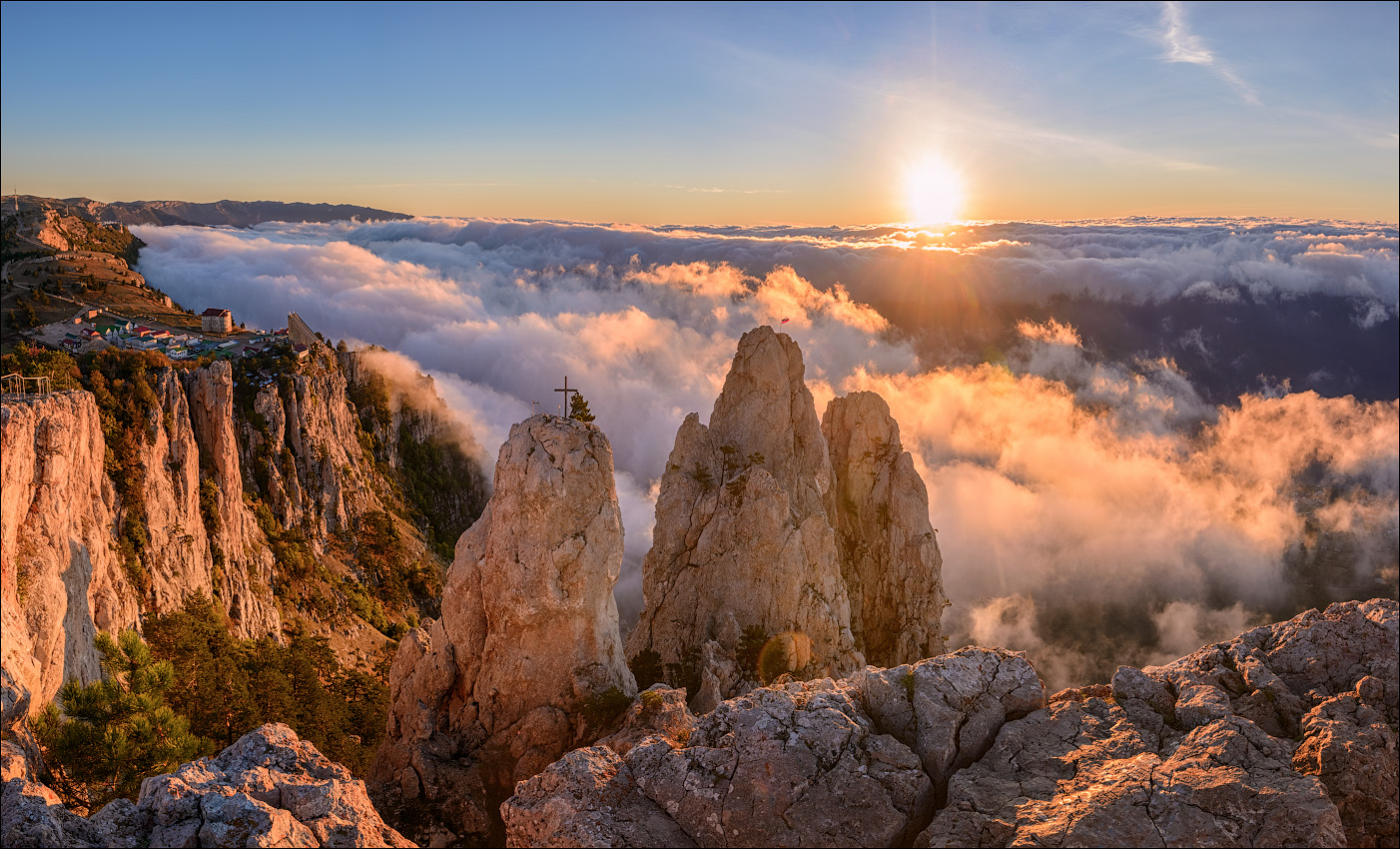 "photo ""***"" tags: landscape, travel, nature, Crimea, Russia, autumn, clouds, fog, morning, mountains, sky, склоны"