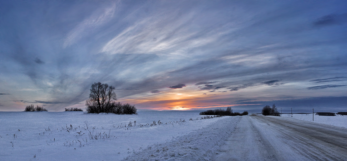 """photo """"***"""" tags: landscape, road, sunset, winter"""