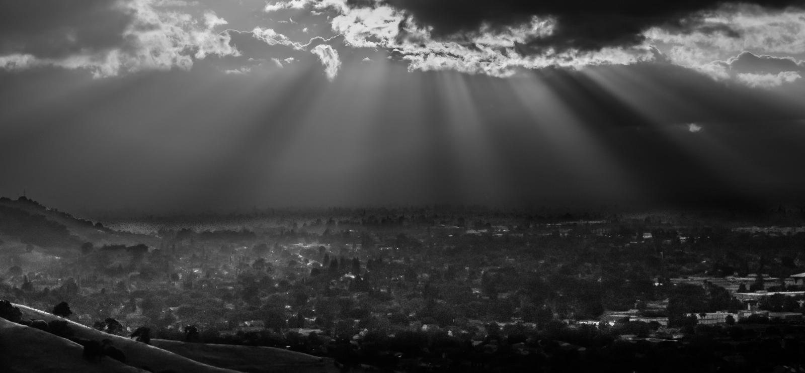 "фото ""Вечер"" метки: пейзаж, черно-белые, вечер, лучи"