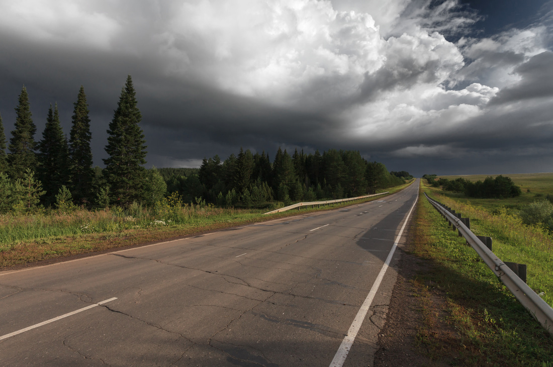 """photo """"***"""" tags: landscape, forest, road, summer, тучи"""