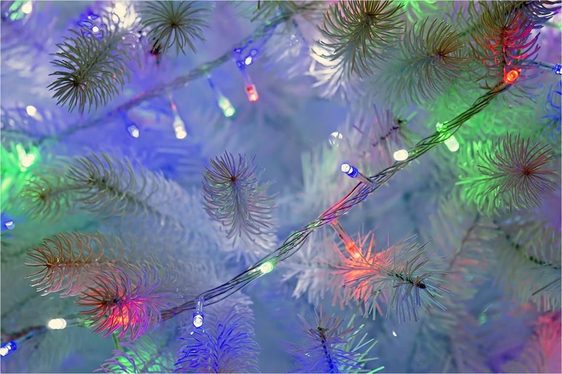 """фото """"Белая ель"""" метки: макро и крупный план, Новый Год, гирлянда, ель, праздник, рождество"""