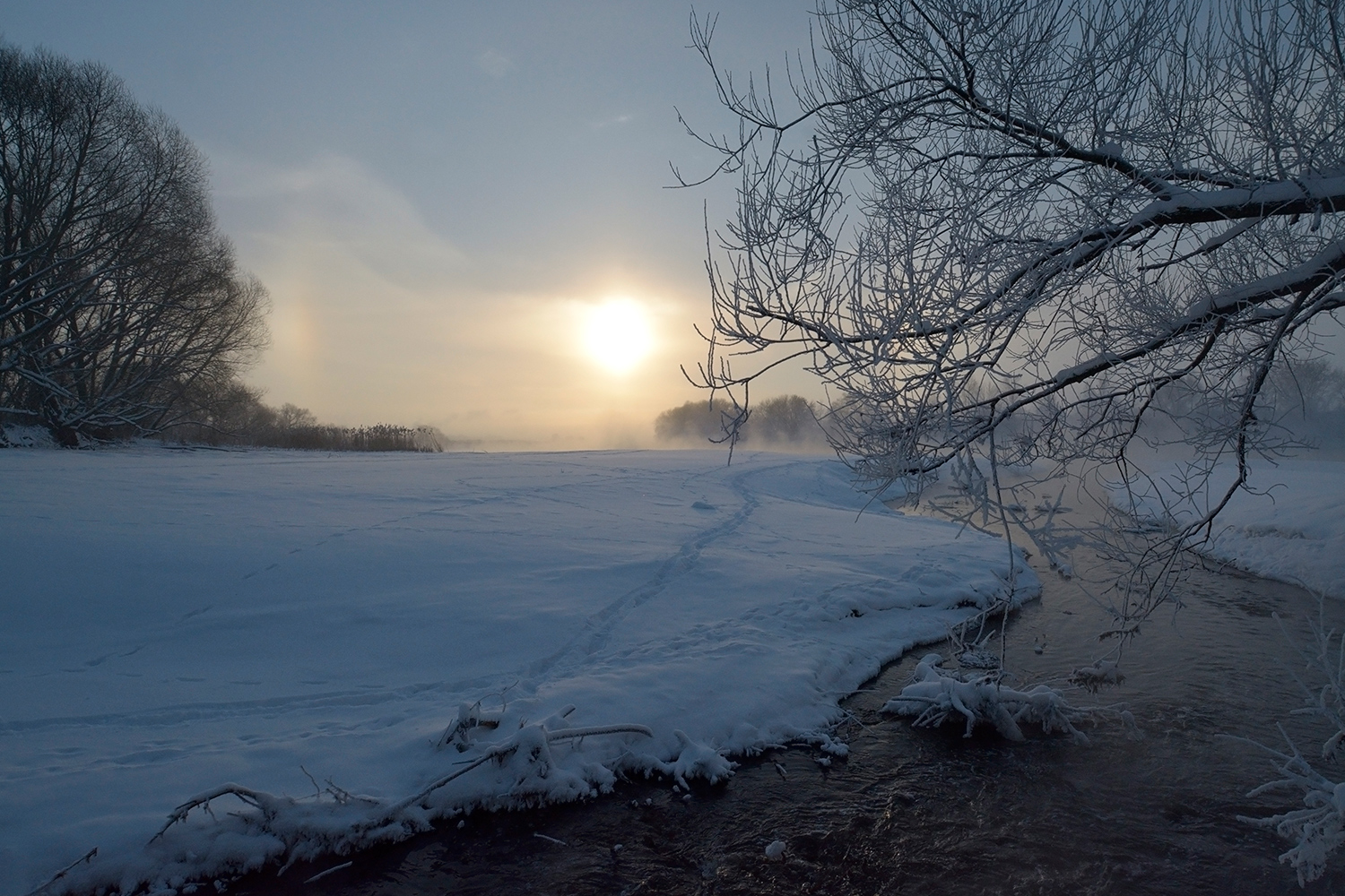 "photo ""***"" tags: landscape, nature, coast, hoarfrost, sky, water, winter, солнце."