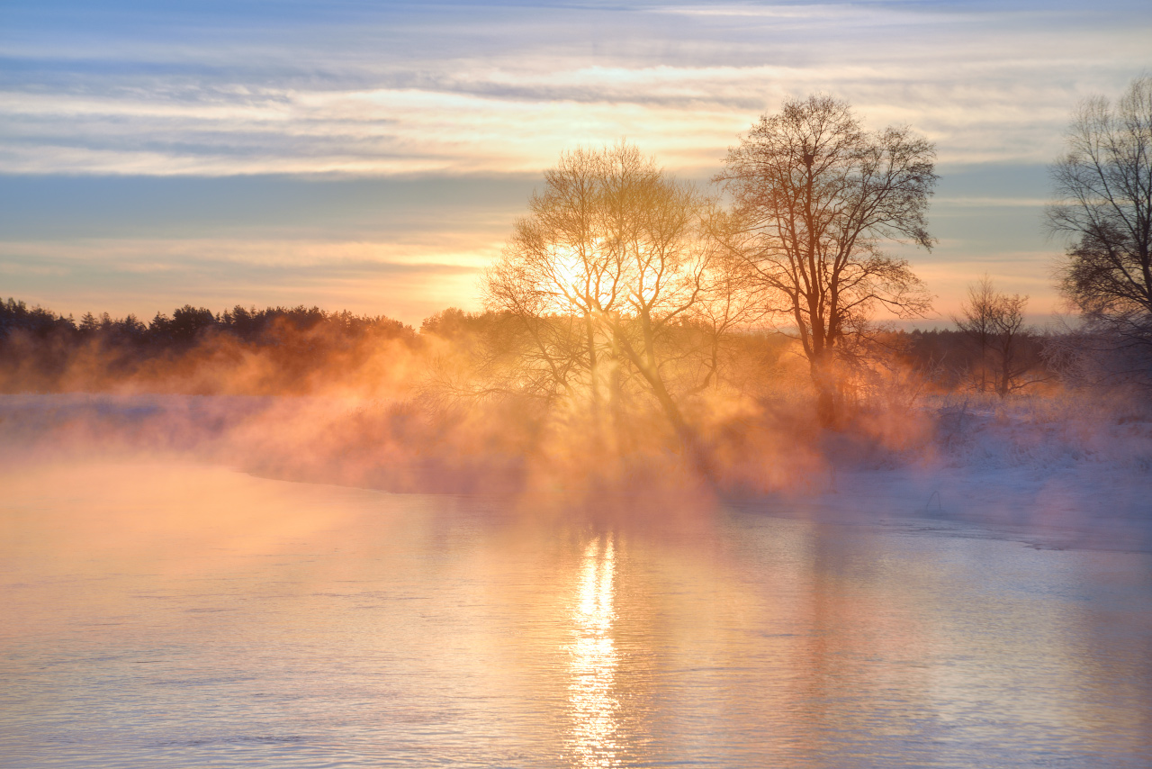 """photo """"***"""" tags: landscape, nature, travel, fog, morning, river, snow, tree, water, Беларусь"""