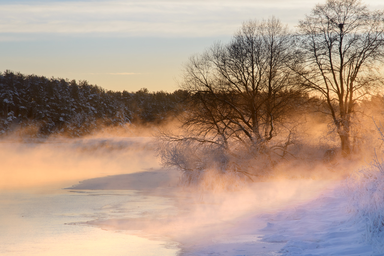 "photo ""***"" tags: landscape, travel, nature, morning, river, snow, tree, Беларусь"