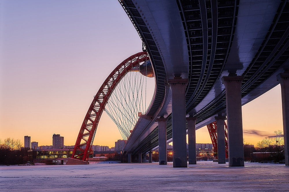 "photo ""***"" tags: landscape, architecture, city, bridge, clouds, hoarfrost, river, sky, sun, sunset, water, winter, лед, холод"