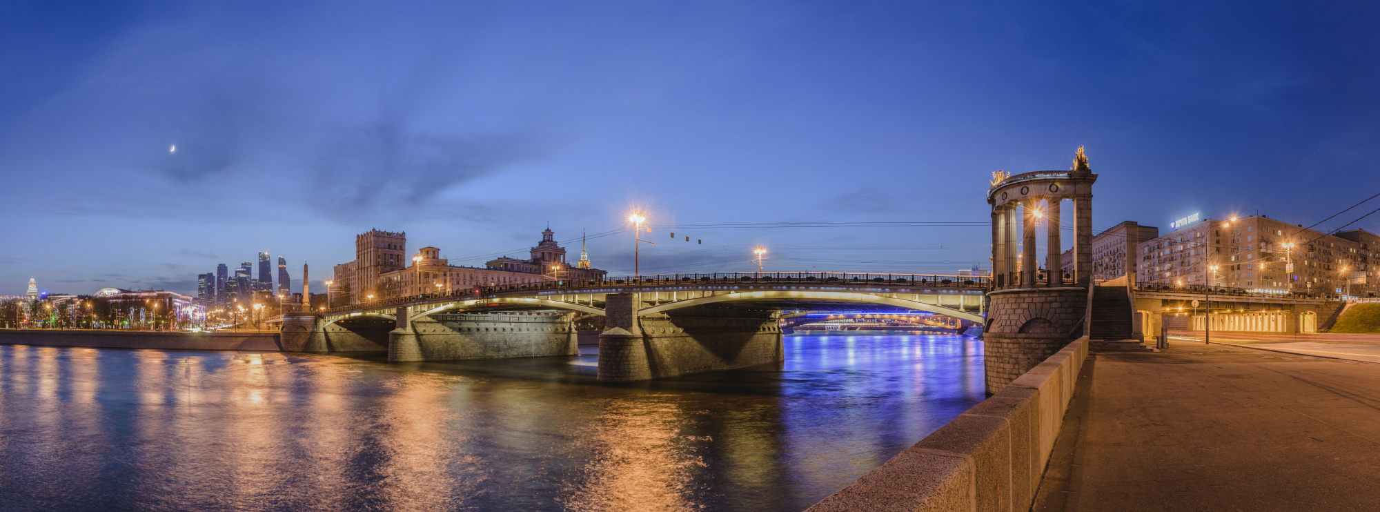 "photo ""***"" tags: city, architecture, Moscow, bridge, evening, river"