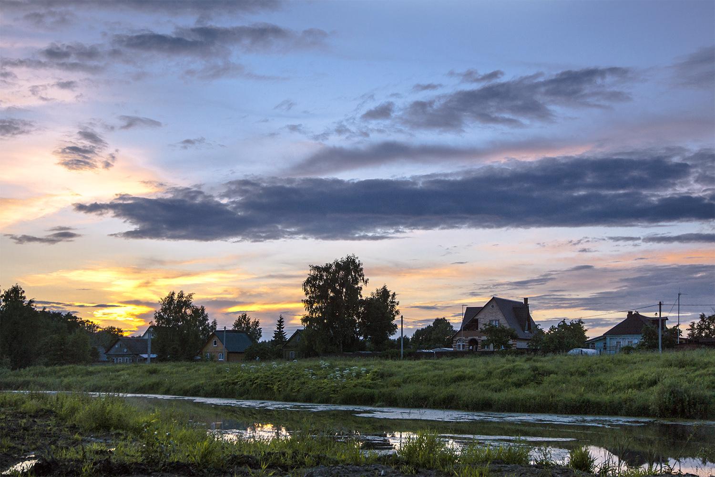 Открытки вечер в деревне фото