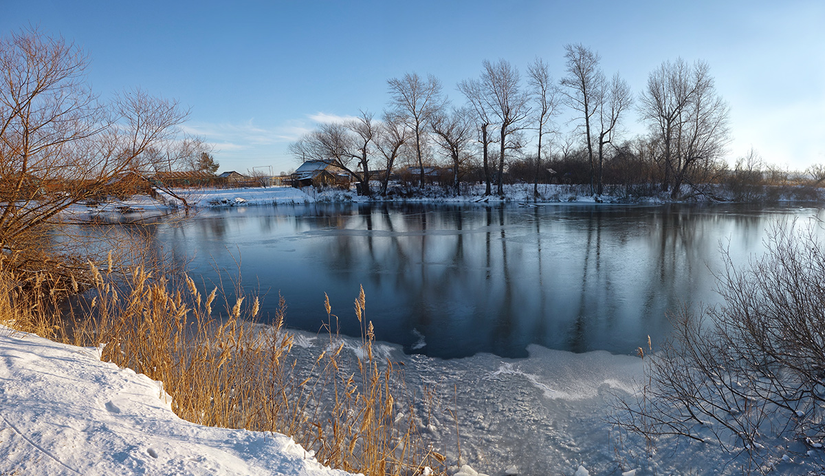 "photo ""***"" tags: landscape, lake, village, winter"