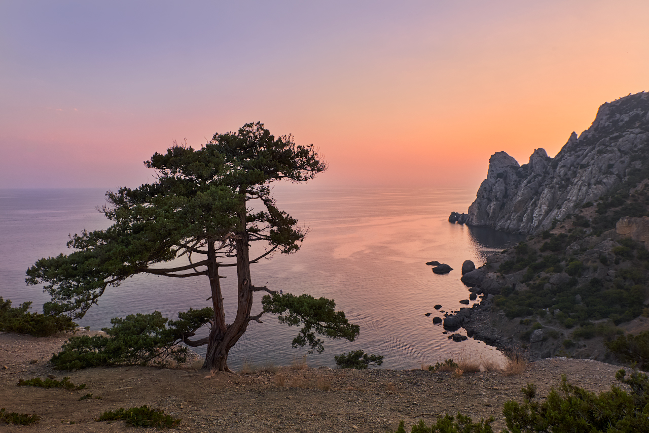 "photo ""***"" tags: landscape, nature, travel, Crimea, Russia, mountains, sea, sky, sunset, tree, water, склоны"