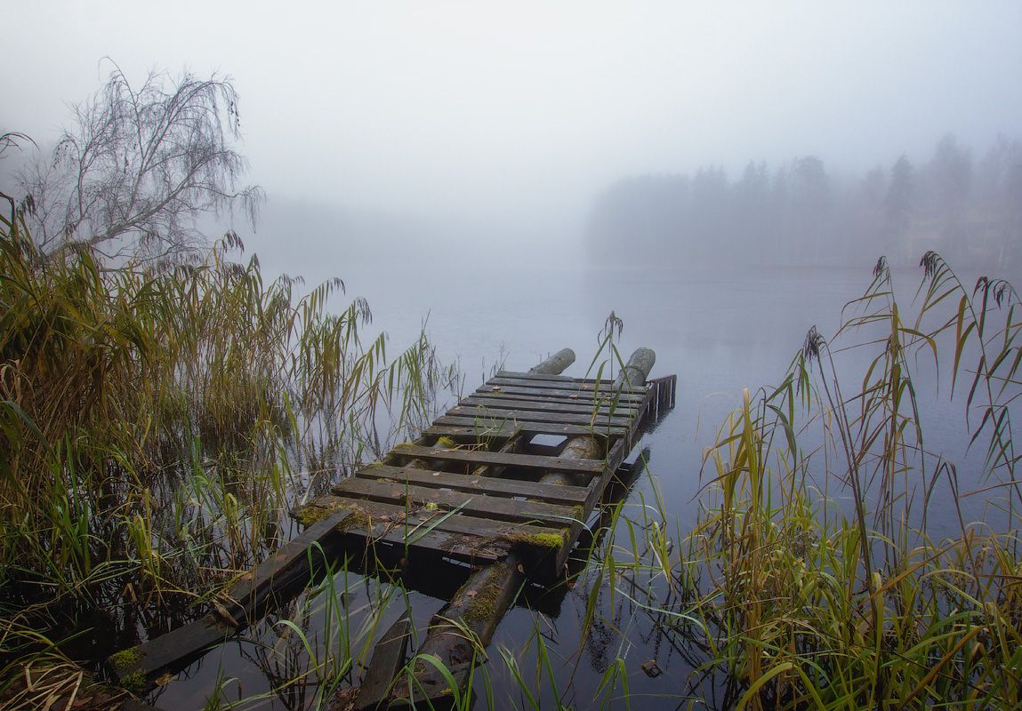 """photo """"***"""" tags: landscape, autumn, fog, lake, мосток"""
