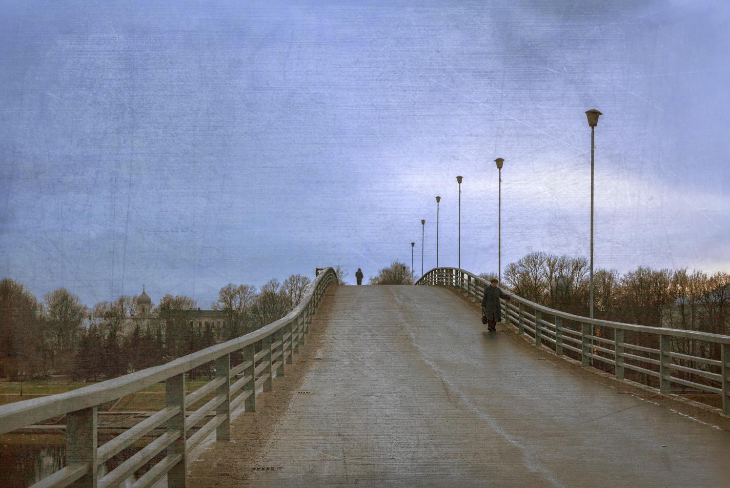 "photo ""***"" tags: street, bridge, morning, Великий Новгород"