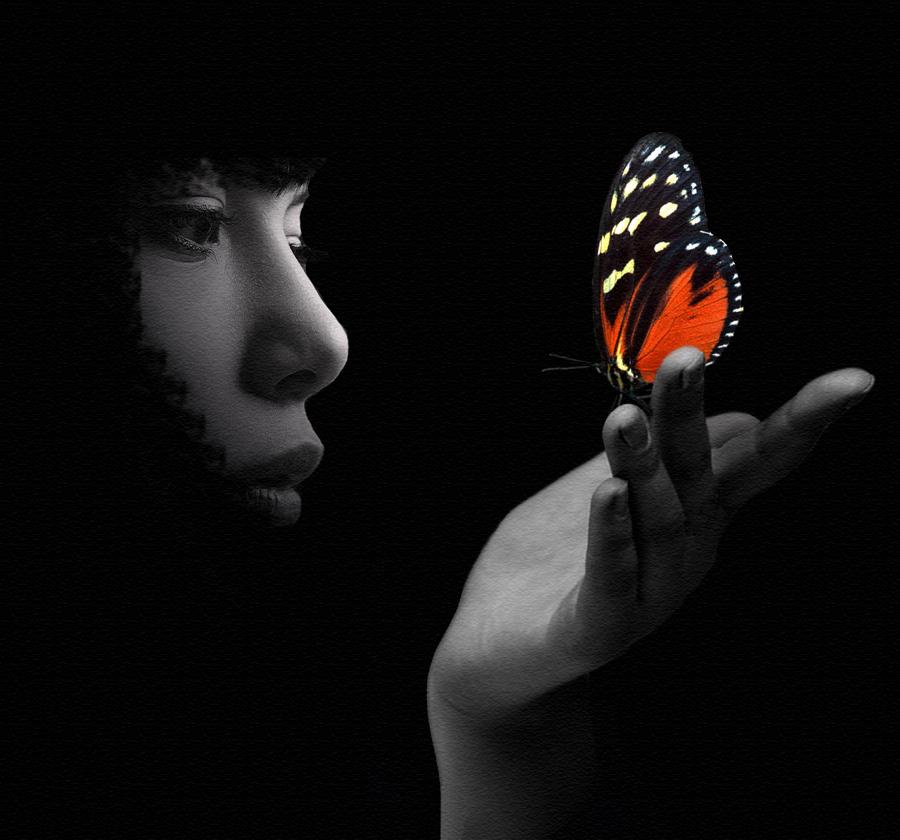 """photo """"Come volo di farfalla..."""" tags: portrait, digital art,"""