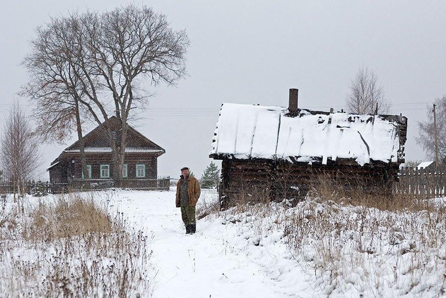 "photo ""Первый снег"" tags: reporting, landscape, kostroma, snow, winter, баня, деревня, кострома"