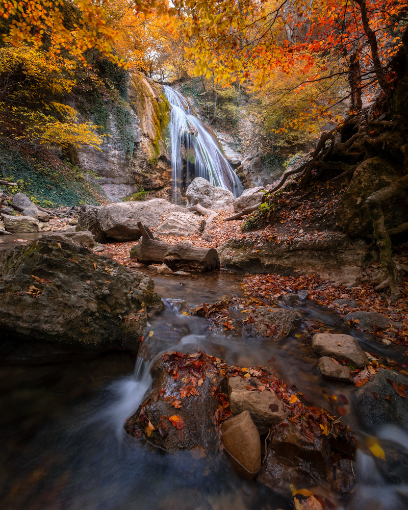 """photo """"***"""" tags: travel, nature, landscape, Crimea, Russia, autumn, forest, mountains, tree, water, водопад"""