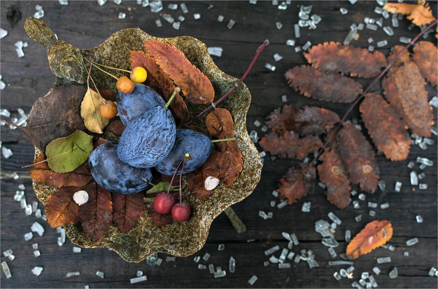 """photo """"***"""" tags: still life, Ягоды, осенние листья, сливы"""