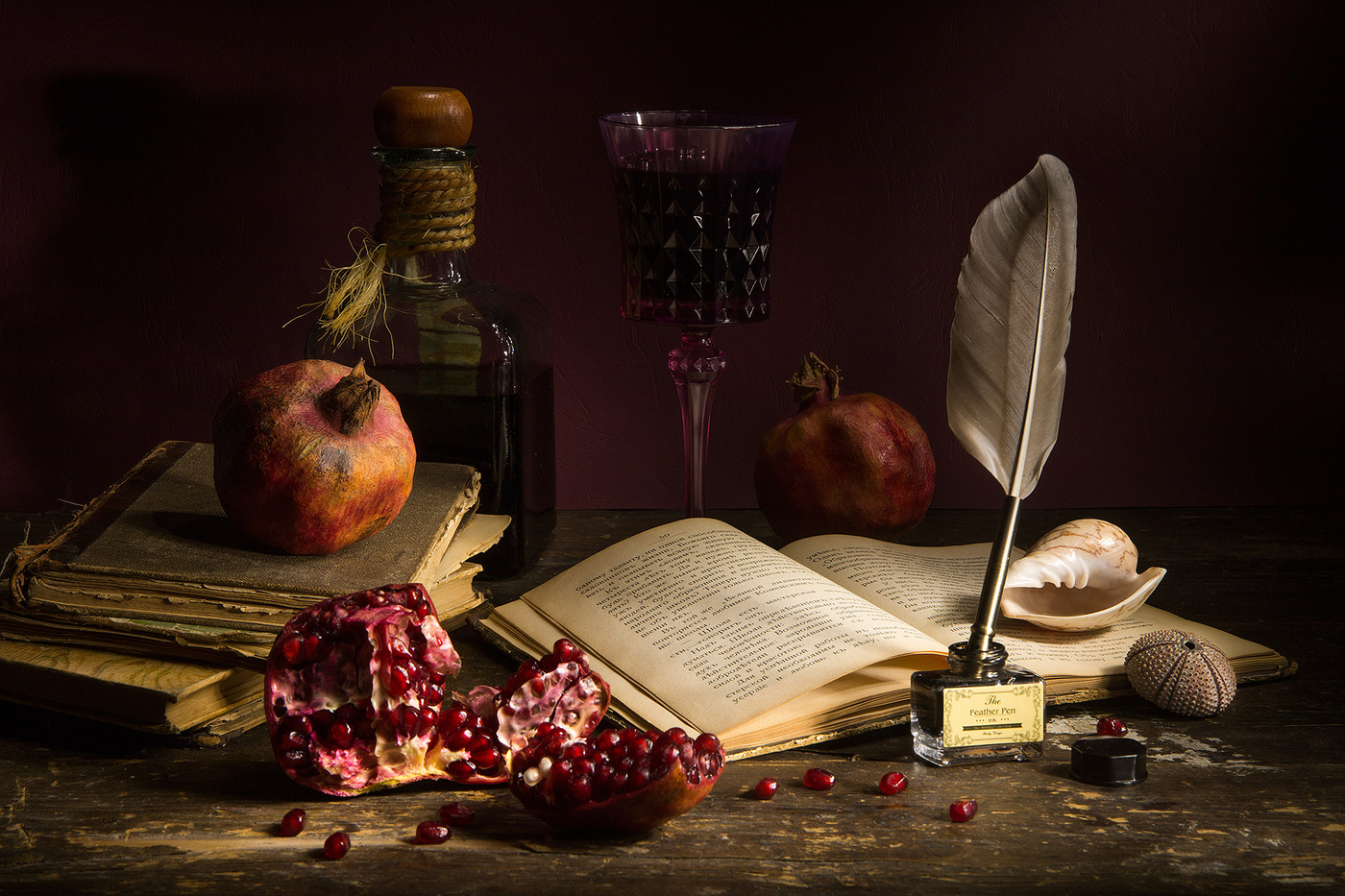"photo ""***"" tags: still life, wine, Гранат, книга"