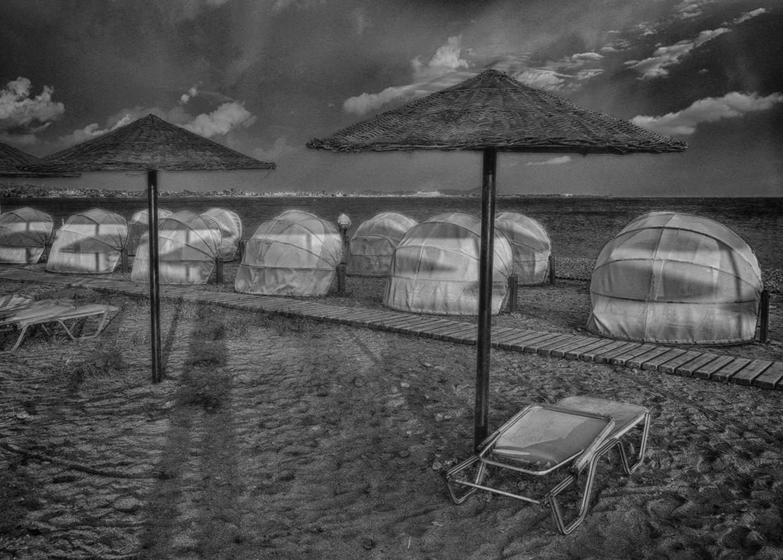 """photo """"Kos. Beach"""" tags: travel, black&white,"""