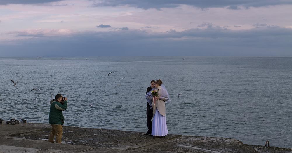"photo ""***"" tags: reporting, landscape, bride, sea, жених, свадба, фотограф, чайки"