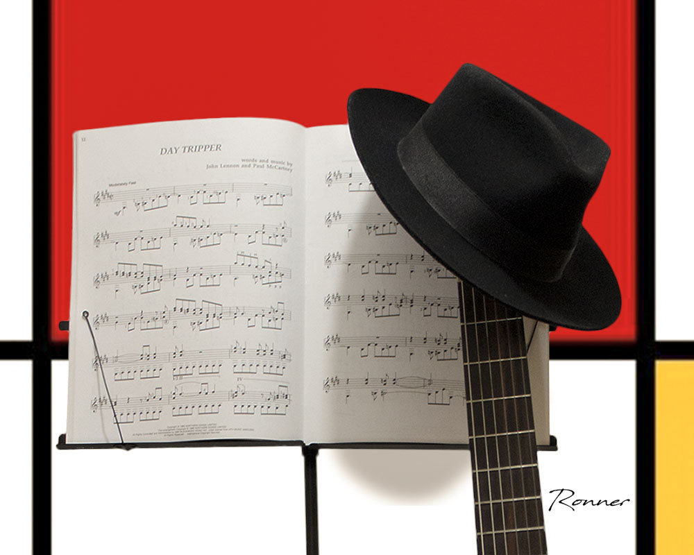 "photo ""This is me"" tags: still life, Hat, Mondrian, Musical Score, guitar"